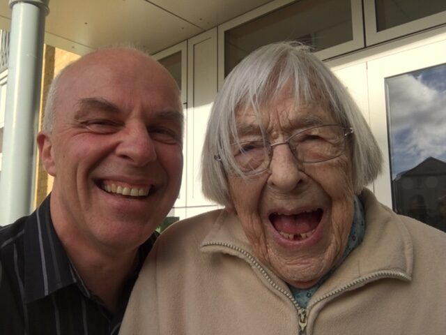 Janet celebrates her 98th Birthday - Pictured here with Pastor Roger Frapwell